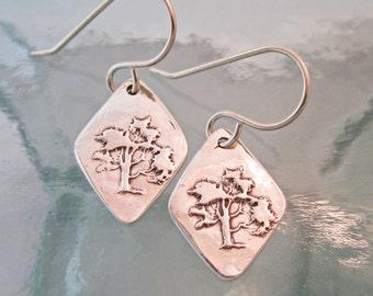 Handcrafted Silver Earrings, Old Oak