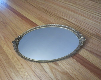 "ANTIQUE VANITY MIRROR Tray For Dresser Or Wall Oval Goldtone Metal Filigree With Roses On Each End 9 1/2"" x 17"""