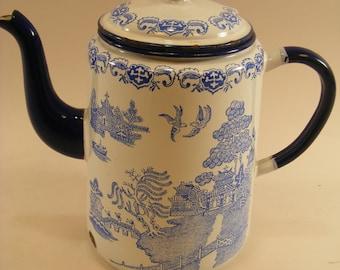 RARE Blue Willow English Enamelware Coffee Pot c.1930