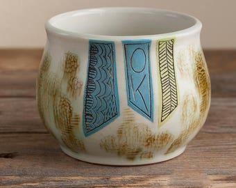 coffee cup - handleless mug - folk - illustrated - handmade - floral - art pottery