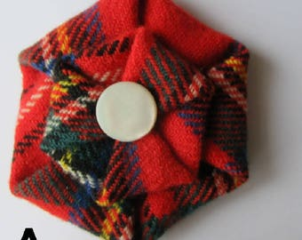 Royal Stewart Tartan Brooch with vintage Mother of Pearl button