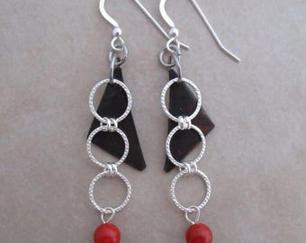 dearest one red coral earrings oxidized copper sterling silver