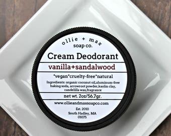 Natural Deodorant, Vanilla Sandalwood Cream Deodorant, Vegan Deodorant