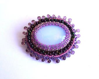Opal and embroidered beads, brooch boho brooch, brooch boho embroidered