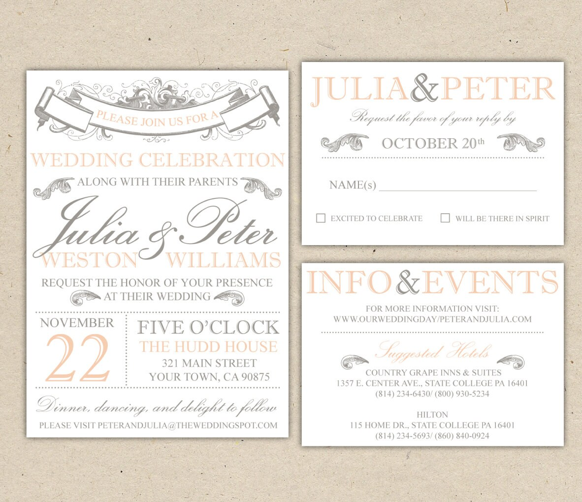 Rustic Wedding Invitation Template Vintage Modern Printable