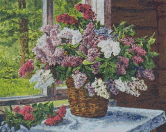 Lilacs Cross Stitch Kit, Lilacs by the Window Cross Stitch, Pyotr Konchalovsky, Art Cross Stitch, Floral Cross Stitch