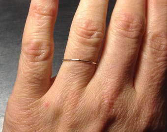 Super ultra thin 0.8mm 14k yellow gold band round plain simple skinny dainty little small slim delicate tiny Wedding stacking spacer ring