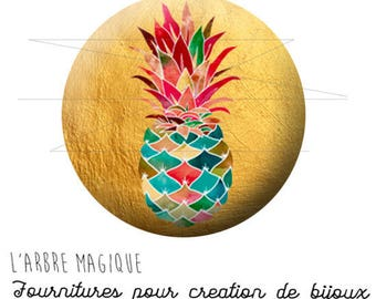 2 cabochons glue pineapple fruit exotic ref 1738 - 16 mm.