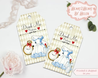 10 Alice in Wonderland Drink Me Gift Tags, Toppers, Favors, Wedding, Tea Parties, Baby Shower, Bridal Shower, Birthday, Gift Tags