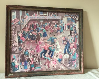 Jigsaw Puzzle from 1940's in Original Frame