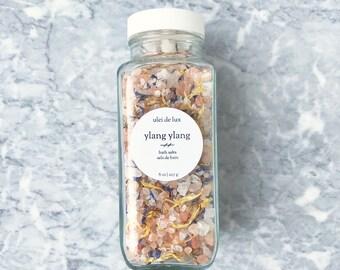 Aromatherapy Bath Salts 8 oz   Ylang Ylang + Bergamot Bath Soak   Herbal Bath   Mother Gift   Spa Gift