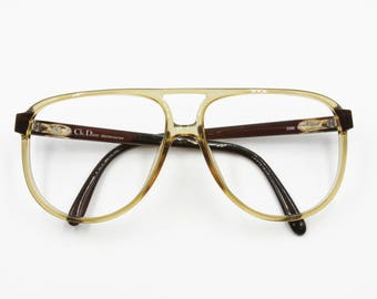 Christian Dior Monsieur 2269 aviator acetate frame, pale yellow and brown made with Optyl acetate, New Old Stock 80s