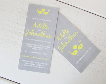 Printed Wedding Invitations Wedding Invite DL Wedding Stationary Bespoke Wedding Invitation Love Birds Wedding Invitations