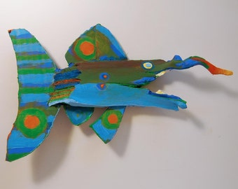 Whimsical Painted Recycled Wood Fish Art Ready to Hang Colorful Wall Decor