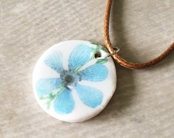 Handmade Ceramic Blue Flower Necklace - Pendant - Illustrated Jewellery - Botanical - Floral - Clay Pendant