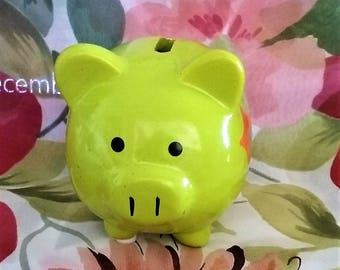 Green Piglet Vintage Money Bank, Piggy Coin Bank, Savings Bank Vintage, Whimsical Money Saver