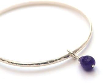 Sterling silver bangle - Hammered bangle - Amethyst bangle - Amethyst bracelet - Bridesmaid Bangle - Bridesmaid Gift