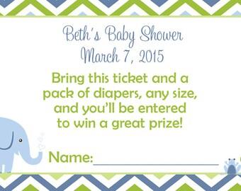 Diaper Raffle Ticket Baby Boy shower diaper raffle - Personalized diaper raffle cards