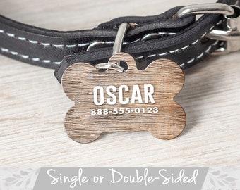 Rustic Pet ID Tag, Custom Pet Tag Dog ID Tag Boy, Faux Wood Pet Tag for Dog Tag, Personalized Pet Tag, Large Dog Tag, Bone Shaped Pet Tag