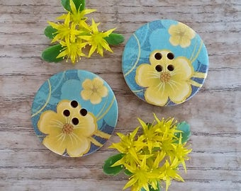 Blue and Yellow Flower Pattern Wooden Sewing Buttons 30mm - set of 6 natural wood button