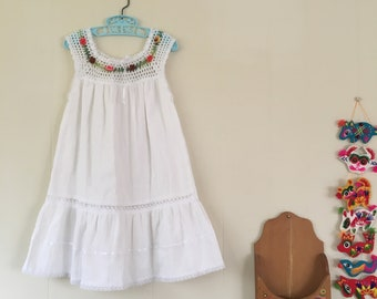 1970's mexican gauze dress with floral embroidery - size 5