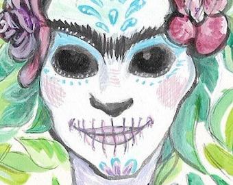 Frida-  Original Painting ACEO Art Card