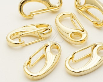 CS-056-GD / 5 Pcs - BIG Size Solid Brass Lobster Clasp, Gold Plated over Brass / 25mm x 13mm