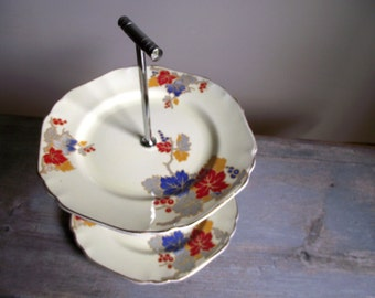 Art Deco 2 Tier Cake Plate | 2 Tiered Cake Stand | Vintage Two Tier Serving Plate | Tea Party | Shabby Cottage Chic | Farmhouse