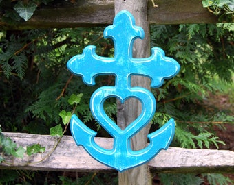 Cross Anchor Heart, Faith Hope Love, Theological Virtues, Christian, Wood, Rustic, Carved, Distressed Blue, Wall Art