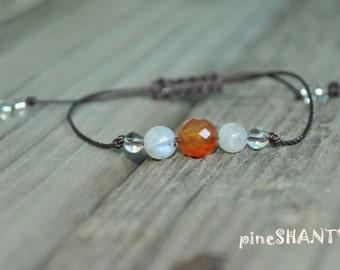 Carnelian Bracelet, Moonstone Bracelet, Clear Quartz Bracelet, Protection, Meditation Bracelet, Yoga Bracelet, Motivation
