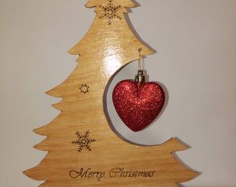 Christmas Tree Decoration, Christmas Ornament, Christmas Gift, Heart Bauble, Noel