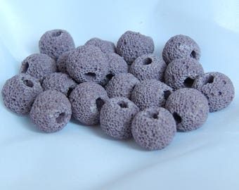 Purple natural lava beads 10mm, set of 10
