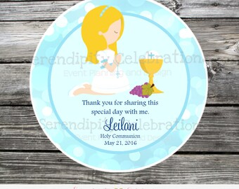 First Holy Communion, Baptism, Confirmation, Religious, Set of 12 Personalized Favor Tags, Stickers, Thank You Tag, Blue Bokeh, Navy