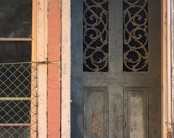 French Quarter Print, Antique Door, New Orleans Photography, Old Door Photo, Shabby Chic, Gift for Her, Blue Door Print, Pink and Blue Decor