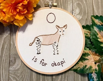 O is for Okapi Embroidered Hoop Art - O name baby - Alphabet for Nursery - Baby Shower Gift - Nursery Art