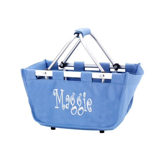blue mini Market tote picnic basket tote monogram basket tote personalized tote bag tailgate tote bag college dorm shower caddy basket