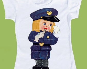 Retro Vintage Police Girl, Police T-Shirt, ANY hair Color, New Baby One Piece Baby , Tank or T-Shirt  by ChiTownBoutique.etsy