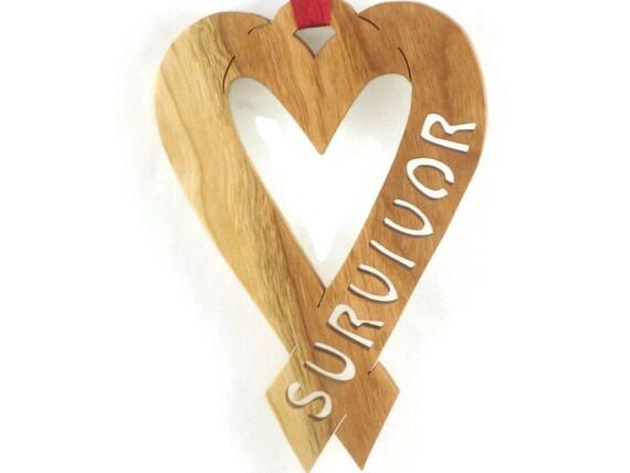 Heart Disease Survivor Ribbon Handmade From Cherry, Walnut, Or Poplar