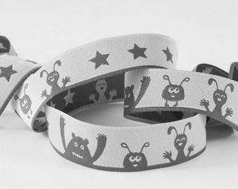 Monster grey farbenmix Ribbon 15mm by the yard