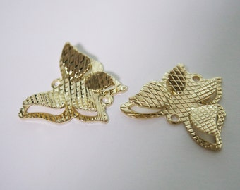 2 pc. Fluttering Butterfly, C1G, 16k Gold Plated Brass Connector