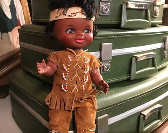 Vintage Boy Indian Doll in Leather Clothing