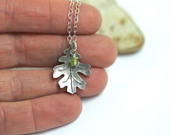 Oak leaf necklace Sterling oak leaf necklace