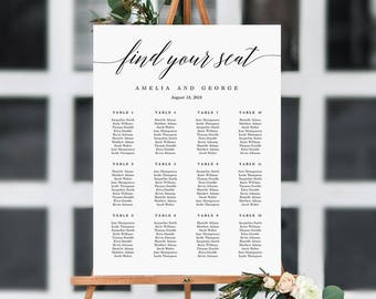 ON SALE - 7 Sizes Wedding Seating Chart Template, Editable Wedding Table Seating Chart Sign Instant Download Modern Find Your Seat