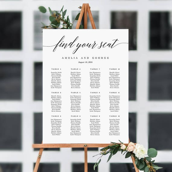 On Sale   Sizes Wedding Seating Chart Template Editable Wedding