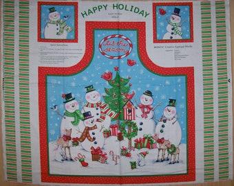 A Wonderful Tis The Season Christmas Apron Fabric Panel Free US Shipping