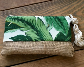 Banana Palm Clutch - Bikini Bag - Personalized Clutch - Bridesmaid Gift - Wedding Accessory - Cosmetic Bag - Gift for Her - Mothers Day Gift