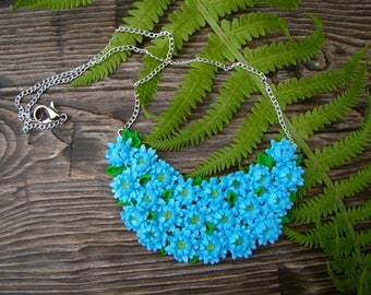 Necklace Blue flowers Floral jewelry