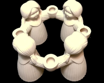 Vintage GOEBEL white bisque porcelain candle holder HX 326, 1966 four little girls made in West Germany, perfect for Christmas