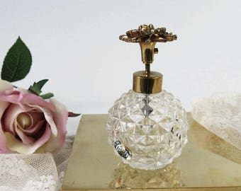 Vintage Japan iRice Pump Perfume Bottle Gold Ormolu Rose and Glass, Vanity Decor, Mother's Day Gift