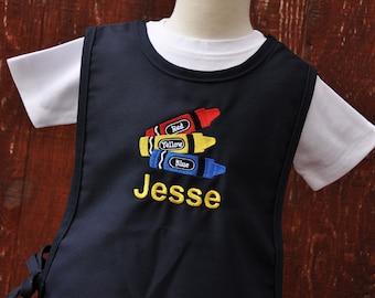 Personalized Kids Art Smock - Crayons - Art Smock for Kids - Kids Cobbler Apron - Childrens Art Smock - Toddler Smocks - Gift for Kids